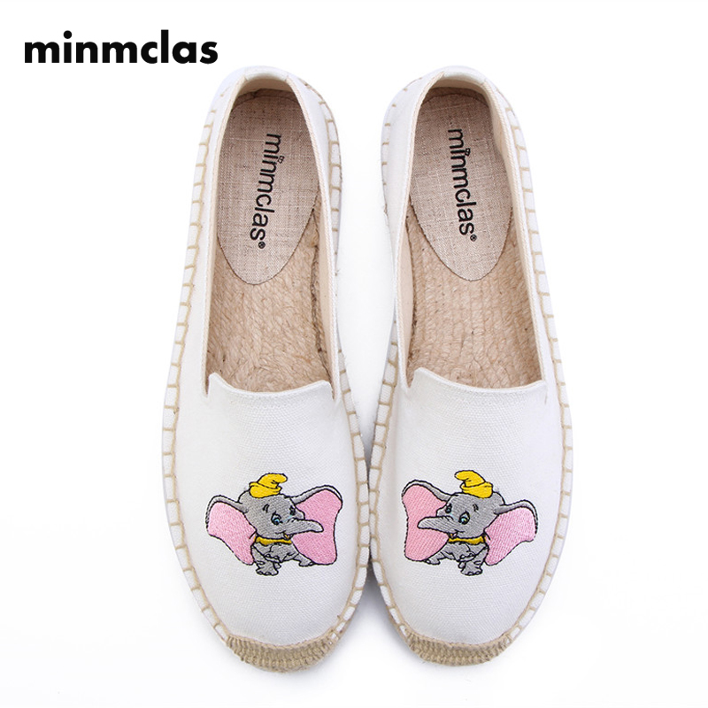 MInmclas Dumbo Slippers Elephant Summer Comfortable Ladies Womens Casual Espadrilles Shoes Breathable Flax Hemp Canvas for Girls