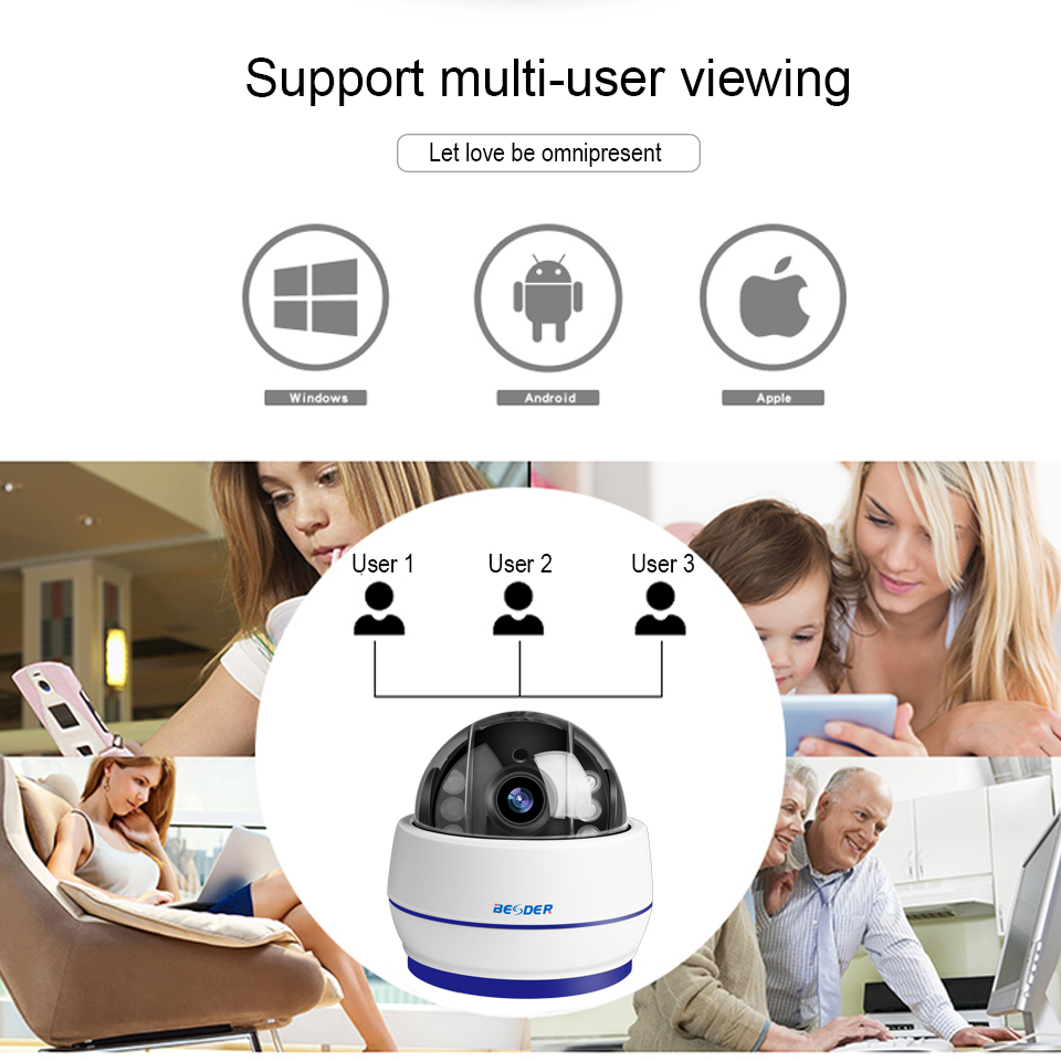 Image 5 - BESDER Wireless Speed Dome PTZ Wifi Camera HD 1080P 960P Auto Focus 5X Zoom 2.7 13.5mm Audio ONVIF P2P IP Camera SD Card Slot-in Surveillance Cameras from Security & Protection