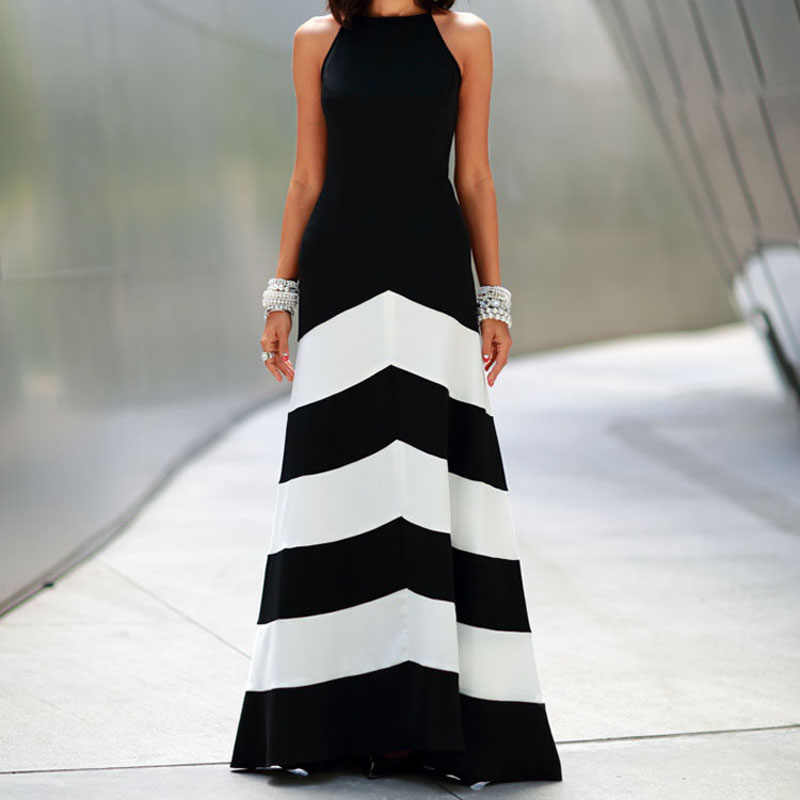Dresses Women Black 2019 Dresses Sexy Women Long Maxi Evening Party Beach Black White Striped Dress bayan elbise#20/