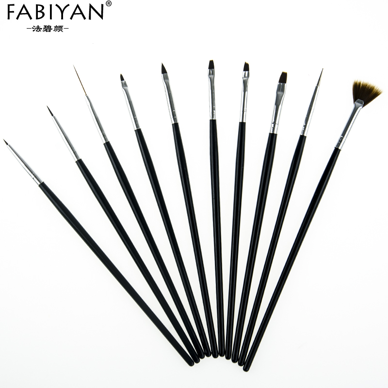 Image 2 - 10Pcs Nail Art Brush Liner Dotting Fan Design Acrylic Builder Flat Crystal Painting Drawing Carving Pen UV Gel Manicure Tool Set-in Nail Brushes from Beauty & Health
