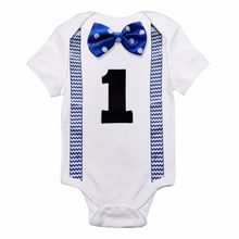 Newborn Baby Boy Clothes White Baby Rompers Jumpsuit Suspenders Bow Tie Little Gentleman Suits First Birthday Outfit Boy Romper(China)