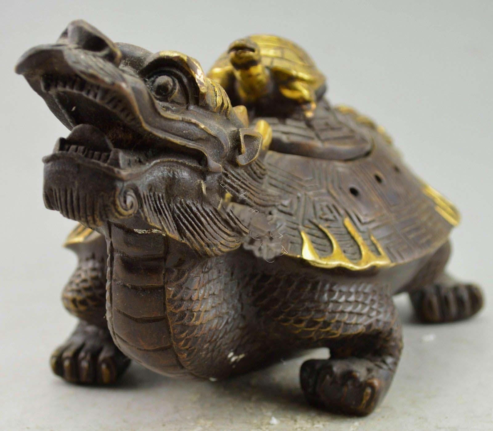 Brûleur d'encens de Statue de tortue de Dragon en cuivre décoré de Style chinois - 5