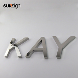 Silver brushed small decorative metal cut alphabet letters