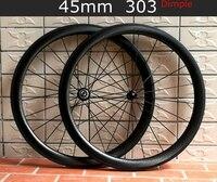 Гарантия 2 года Full carbon T700 колесная 700C Clincher Трубчатые дорожный велосипед 45 мм углеродного dimple колеса