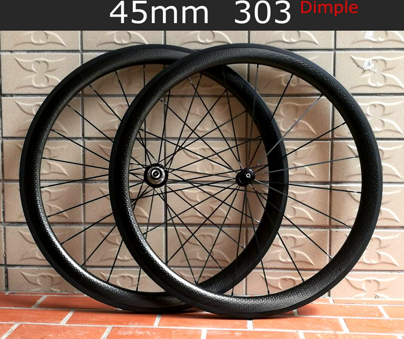 2 year warranty Full carbon T700 wheelset 700C Clincher Tubular road bicycle 45mm carbon dimple wheels