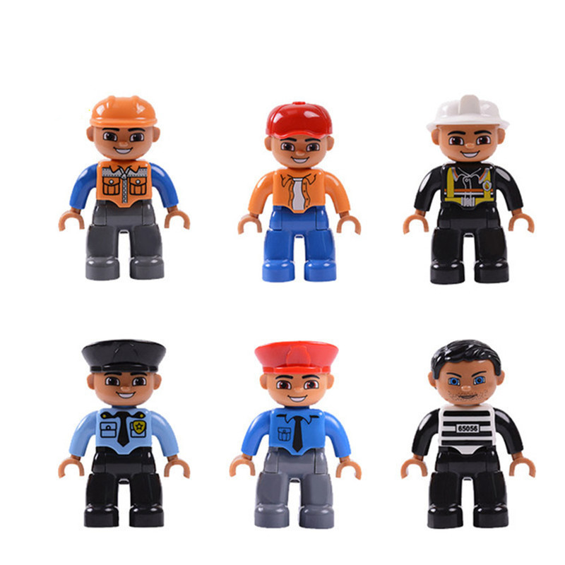 6pcs/Set Big Particle Workers Series Diy Building Blocks Character Compatible With L Brand Duplo Figures Toys For Baby Kids Gift