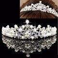 New Bridal Flower Prom Wedding Pageant Veil Rhinestone Crystal Pearl Crown Tiara