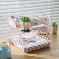 Dual Layer Pink Wrought Iron Stackable Storage Basket Home Desktop Cosmetics Finishing Basket Office Paper Organizer Cleave