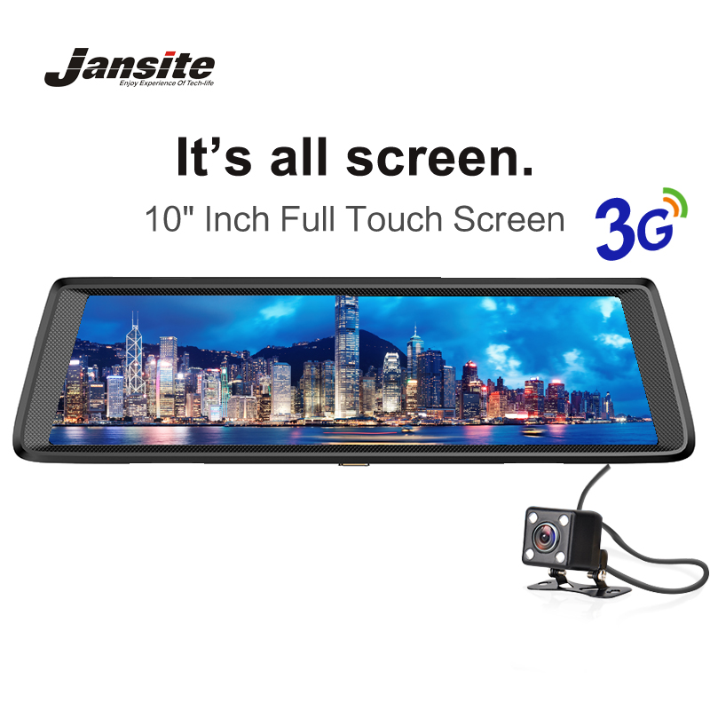 Jansite 3G Car Dvrs GPS Navigators 10 Touch Screen Android 5.0 Car Camera FHD 1080P Video Recorder Mirror Dvr WIFI Dash Cam car dvr recorder android gps navigation 7 inch touch screen mp3 mp4 player wifi 3g fm transmitter car video recorder dash cam