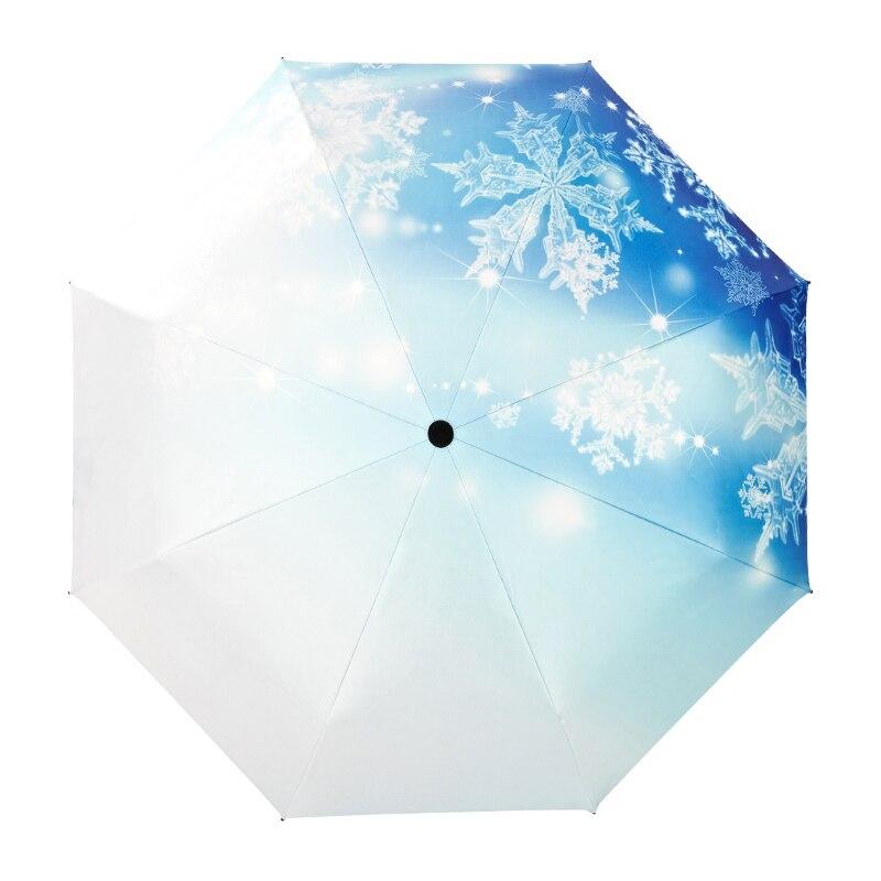 MUERHUA 2018 Fashion Snowflake Umbrella Rain /Sun Women Anti-UV Durable 3 Folding Automatic Umbrella Windproof Female Parasol