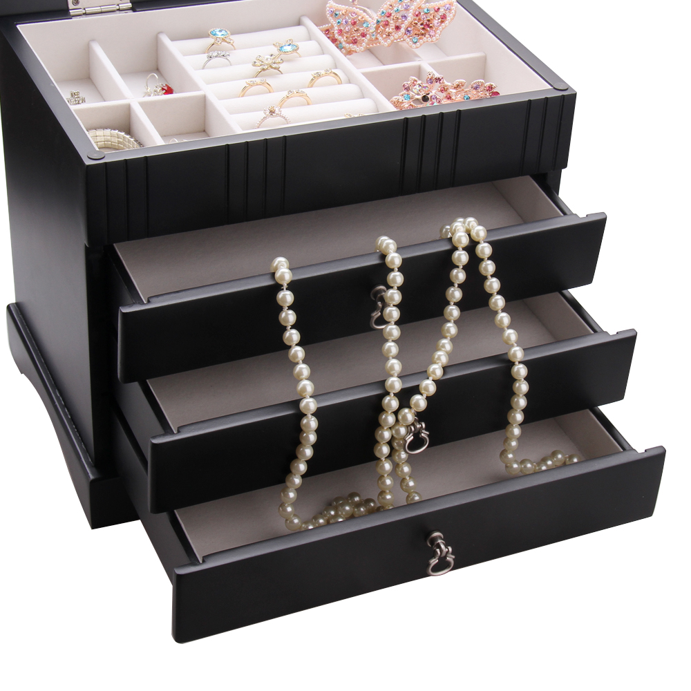 ROWLING Luxury Large Wooden Storage Boxes Cases Black