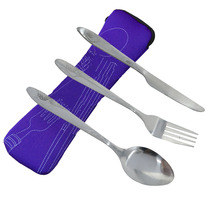 iTECHOR Stainless Steel Cutlery Set Dinnerware Sets Lightweight Outdoor Portable Tableware Set with Cloth font b