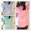 New Women Shirts Slim Full Sleevep Students Small Littleard Decorative Pattern Blouse Shirt Pink Light Green 8073