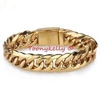 MB311 Gold Men Bracelet 22CM Width 1.58CM 316L Stainless Steel Jewlery Gift Jewelry Bangle,Fahion, modern, wholesale