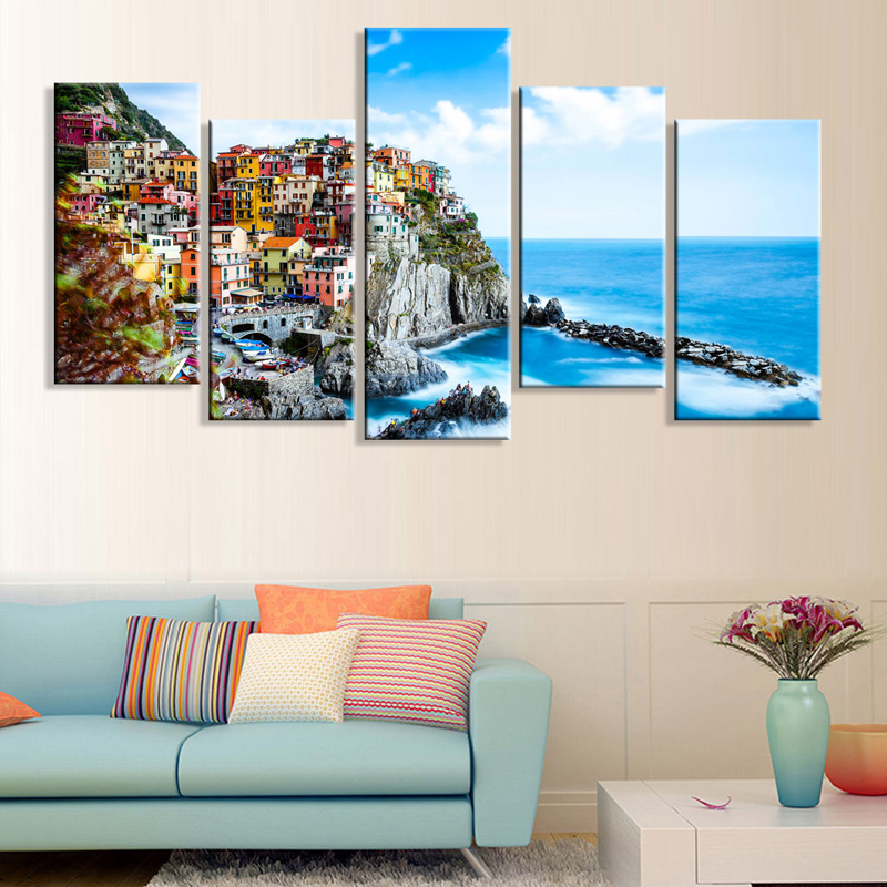 Full Square Drill 5D DIY diamond painting 5piece Italy Town Landscape painting Diamond Embroidery Cross Stitch