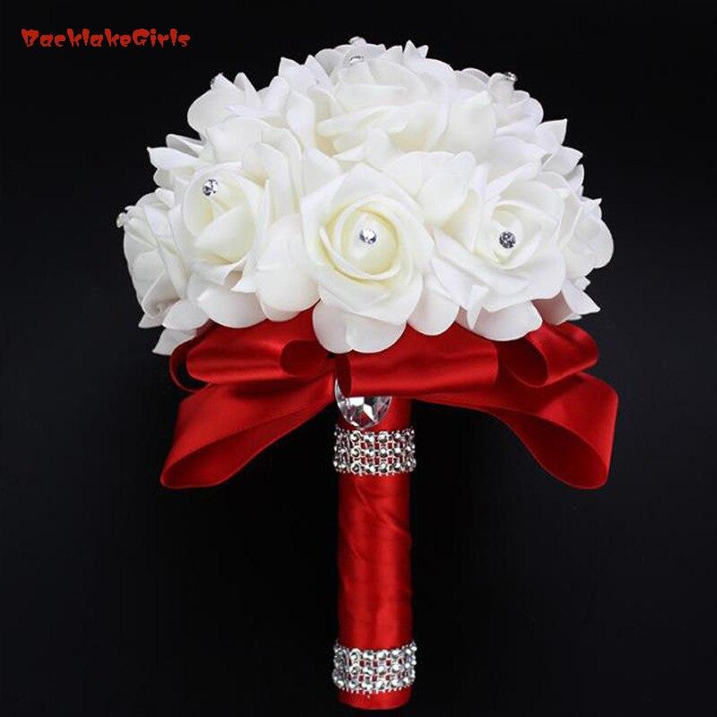 Bouquet Sposa Fucsia.Us 11 07 2018 Elegante Royal Blue Viola Rosso Fucsia Artificiale Della Rosa Fiori Da Sposa Bouquet Sposa Wedding Bouquet Di Cristallo Nastro Di