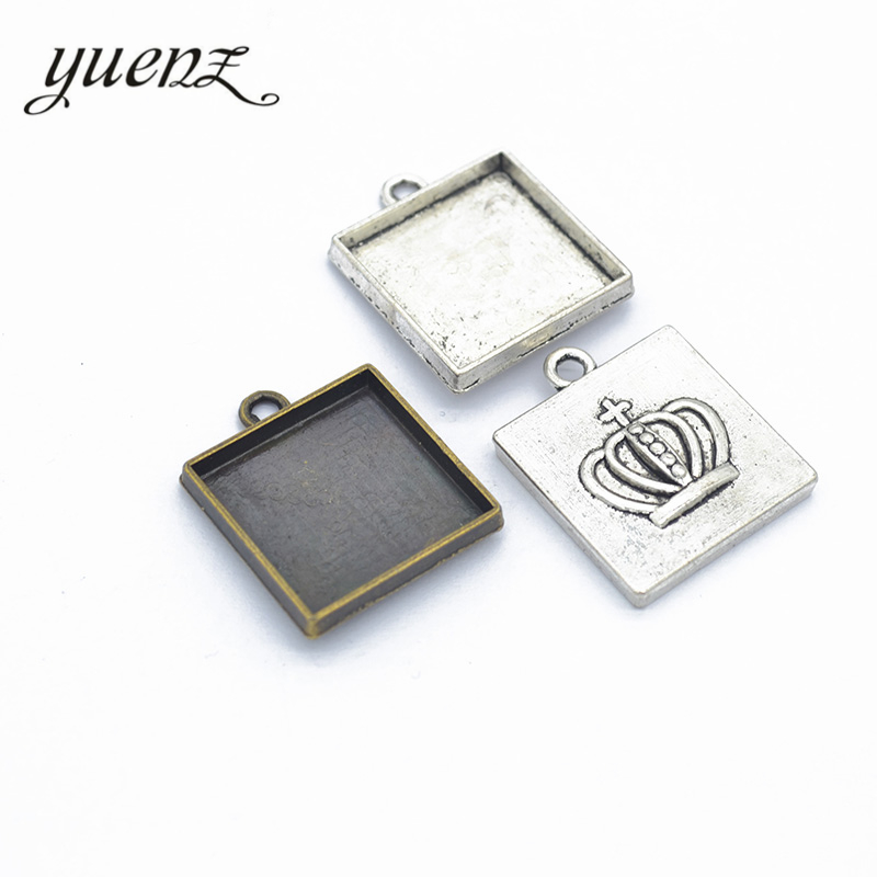 Square Pendant Settings Cameo Cabochon Charm Blank Base Antique Jewelry Making