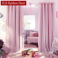 Korean Style Blackout Curtains+voile Curtains For Living Room Bedroom Sheer Curtains For Window Curtains And Tulle Drapes Panels