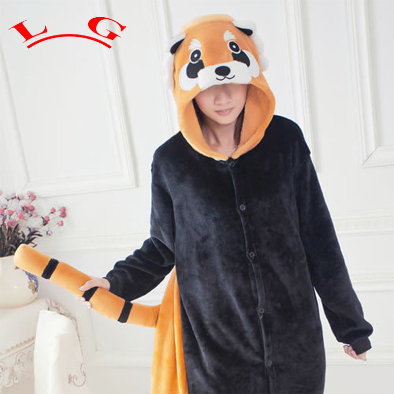 L G Cheap Adults Winter Flannel Cute Cartoon Animal Raccoon Pajamas Onesie Red Panda Cosplay Costume