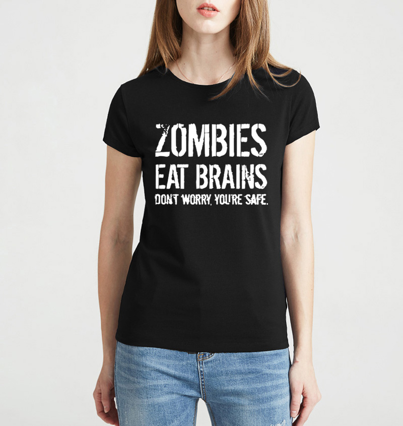 7a5609e10 ... T Shirt Funny Zombie Eating S Brands: Zombies Eat Brains So You're Safe  Print 2019 Summer