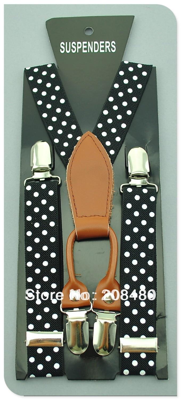 High Quality Four Clip-on Genuine leather 2.5cm White Dot Black Boys Suspenders Children Kids Suspender Elastic Belt Braces