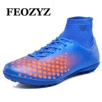 FEOZYZ Hohe Ankle Fußballschuhe Jungen Männer Hallenfußball Schuhe Professionelle Fußballschuh Superfly Futsal Turf Fußballschuhe