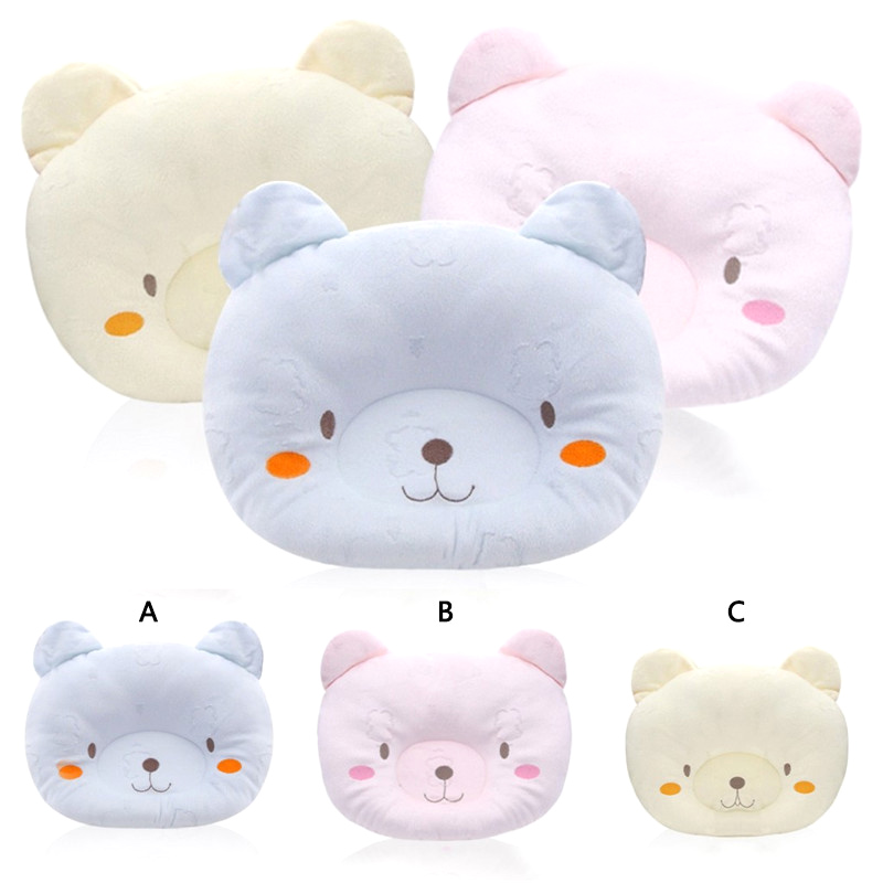 Bear Soft Cotton Lovely Cartoon Anti-rollover Head Positioner Sleep Shaping Pillow For Newborn Infant Baby Pillow 3 Colors G0032