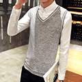 Hot Sale 2017 Good Quality Solid Color Classic Wool Vest Men Sleeveless Sweater Men Casual V Neck Pull Warm Cashmere Pullover