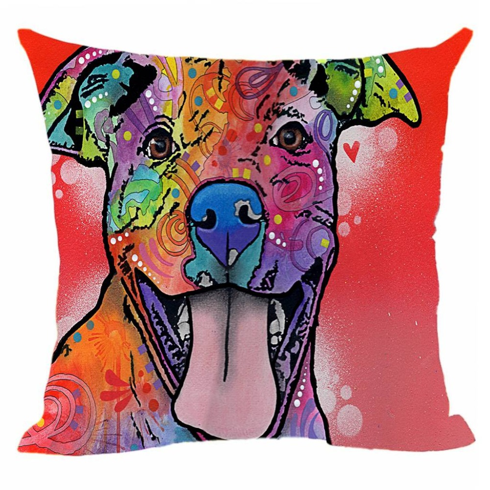 Funda de cojín Pitbull Lovely Dog Wedding Almohada decorativa para - Textiles para el hogar