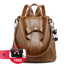 NYHED Women Backpack High Quality PU Knapsack Fashion Bow Black Backpacks For Female Infancy Pack