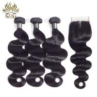 King Hair Peruvian Hair Bundles With Lace Closure Body Wave 3 Bundles Remy Hair Weave 4
