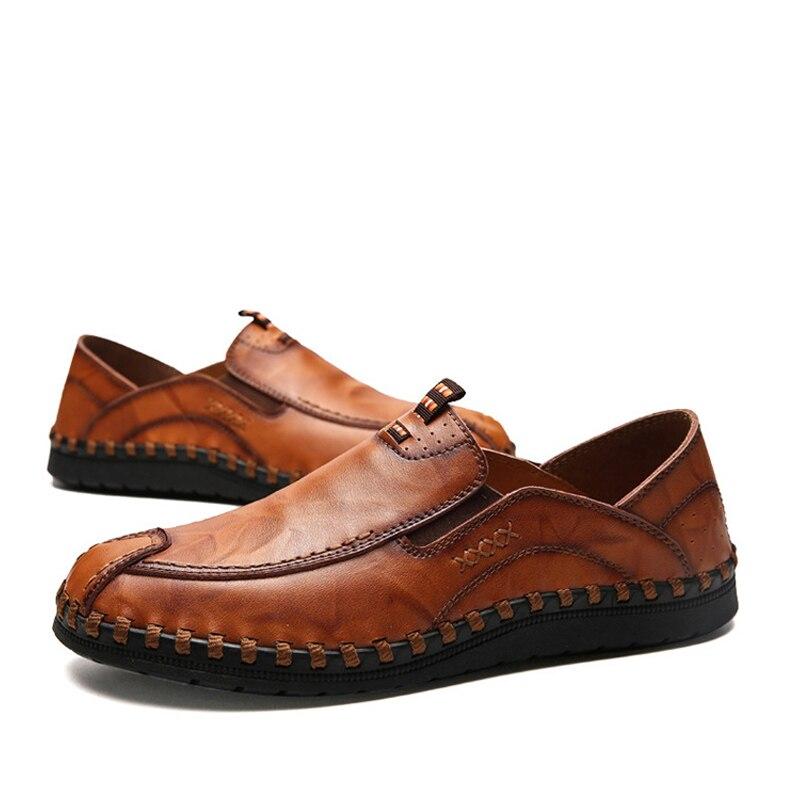 Mens De Hommes Mode Respirant Noir Casual Glissement jaune Mocassins 2019 Noir Oudiniao Chaussures marron Conduite Colombie dqtda