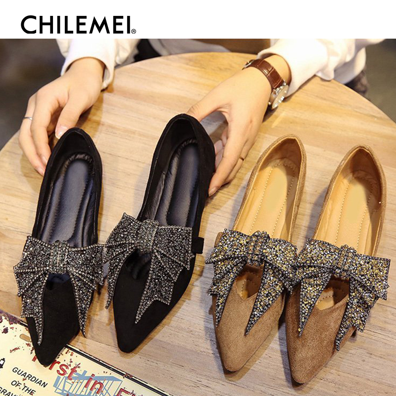 Peas Shoes Female Summer Autumn New Pointed Flat Shallow Mouth Shoes Korean Version Diamond Bow Social Work Shoes Women Shoes female loafers new lace mother flat shoes fashion shallow mouth ladies peas shoes tendon casual women leather shoes plus size