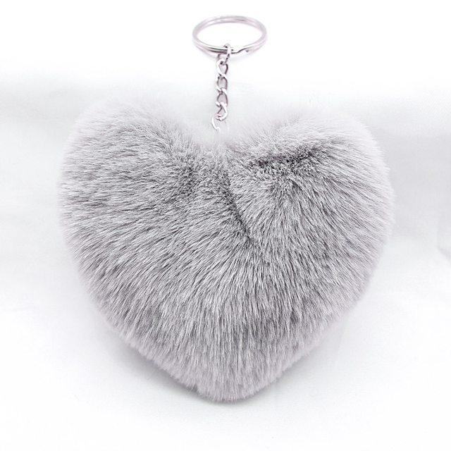 CM Fluffy Fourrure Pompon Porteclés Doux Belle Coeur Forme - Pompon porte clé