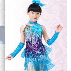 Image 2 - Платье для латиноамериканских танцев, костюмы для девочек, детская одежда, бальные платья для конкурсов, Модный Купальник с блестками и кисточками для сальсы