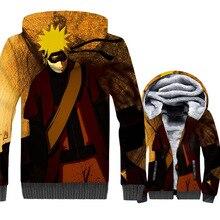men thick wool liner tracksuits harajuku hot 2018 winer 3D Printed swag coats Uzumaki Naruto jackets Anime hooded hoodies