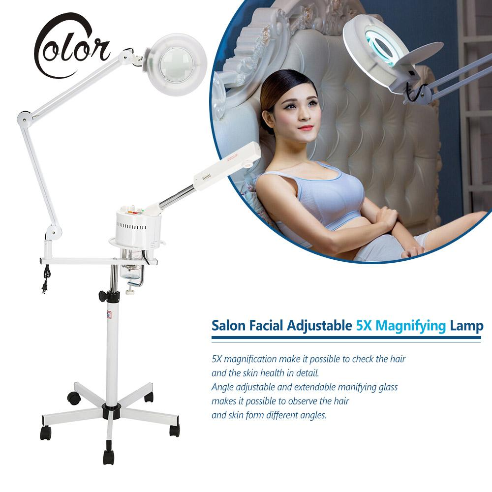 2 in 1 Facial Steamer & 5X Magnifying Lamp UV Ozone Steamer Machine Spa Salon Beauty Equipment for Hair and Skin Care US Plug