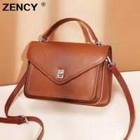 ZENCY NEW Fashion Natural Genuine Cow Leather Women's Bags Female Cowhide Handbag Long Strap Tote Messenger Handle Bag Purse