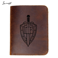 Genuine Leather Wallet Border Troops Of Russia Border Guard Shield And Sword Purse Male Handmade Laser