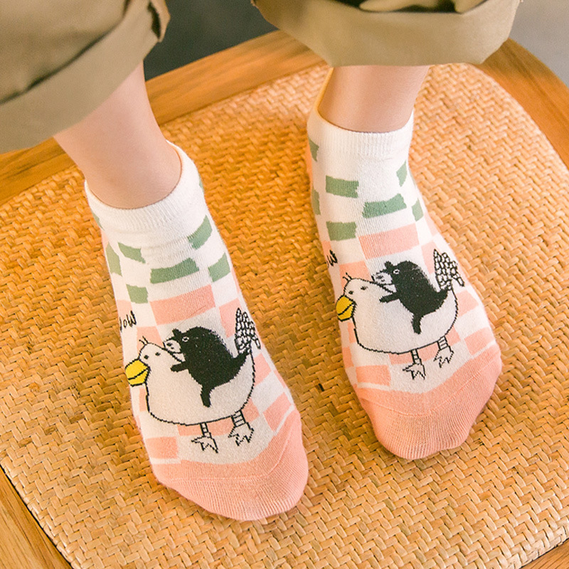 New Fashion Socks Wholesale Spring Summer Casual Cartoon Bear Chicken Dog Pattern Women Cotton  Sock A129 calcetines mujer