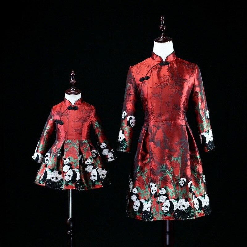 Mère fille robes Panda imprimer Cheongsam grande taille femmes enfants correspondant vêtements robe famille Look maman bébé fille robe