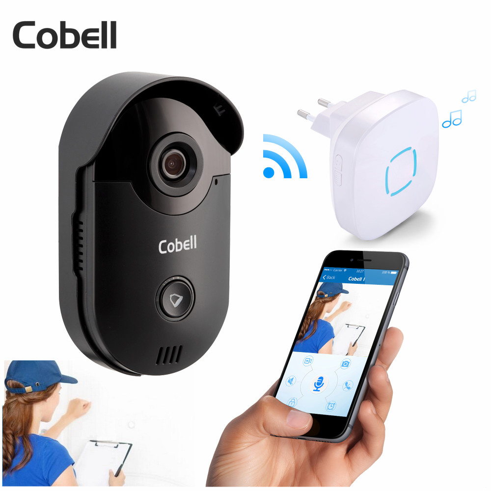 Cobell HD 720P Video Door Phone Intercom Wifi Doorbell Home Security Night Vision Wireless Doorbell Doorphone zilnk video intercom hd 720p wifi doorbell camera smart home security night vision wireless doorphone with indoor chime silver
