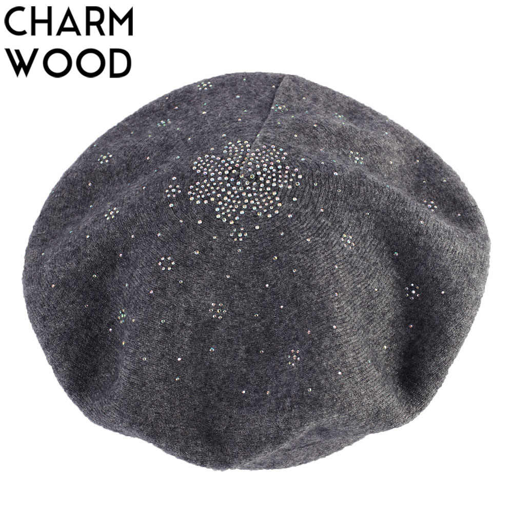 Women's Cashmere Berets Autumn New Wool Knitted Beret for Female Floral Rhinestone French Artist Beret Warm Soft Fur Hat Bonnet