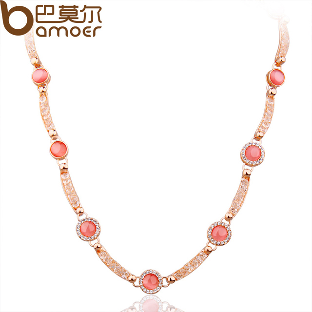 BAMOER Chain Necklace with Red Opal and Crystal for Women  Gold Plated Fashion Anniversary Jewelry JSN068