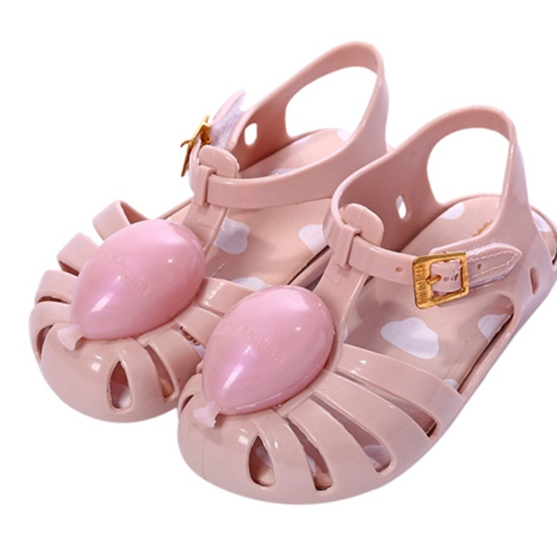 Mini Melissa Children Fashion Summer Kids Casual Buckle Metal Balloon Princess Clogs Mules Beach Shoes Girls Jelly Shoes Sandals