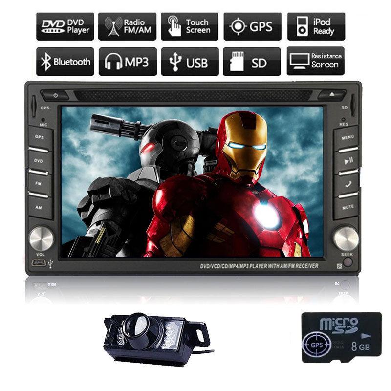 HD 6.2 двойной 2 DIN в тире стерео dvd-плеер GPS Nav стайлинга автомобилей мультимедиа и multi- функция Bluetooth радио + Резервное копирование камеры