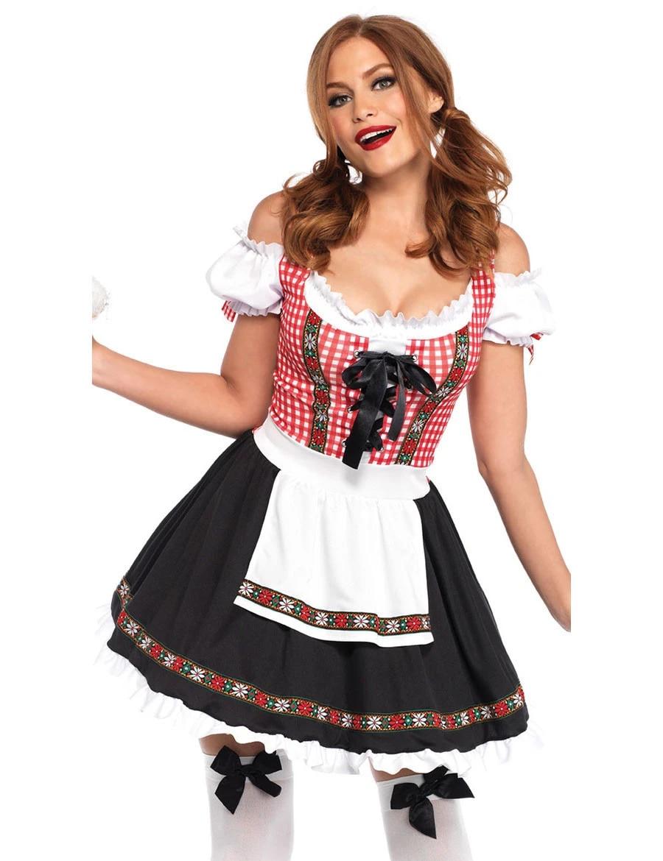 Womens Oktoberfest Costume Beer Maid Wench German Lederhosen Dirdnl Fancy Dress