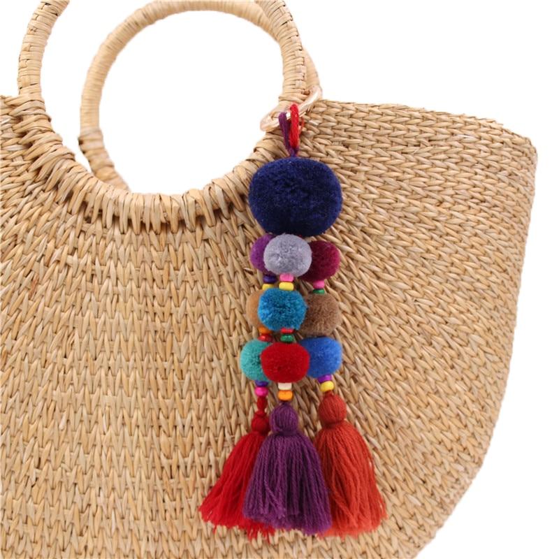 цена на 1PC Bohemian Style Wood Beads Key Chain Pompom Key Ring Bag Hanging Pendant Decoration
