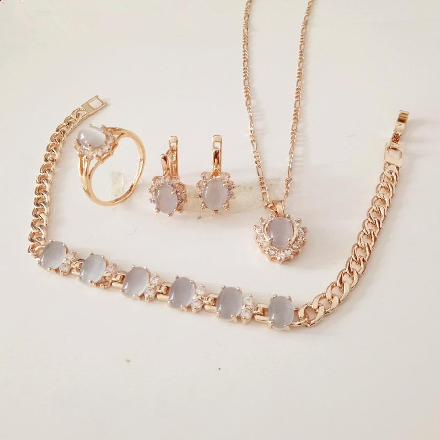 1 Satz Luxus Frauen Hochzeit Schmuck Sets Herz Form Design Rose Gold Farbe Braut Ohrring + Halskette + Ring + Armband Schmuck Sets