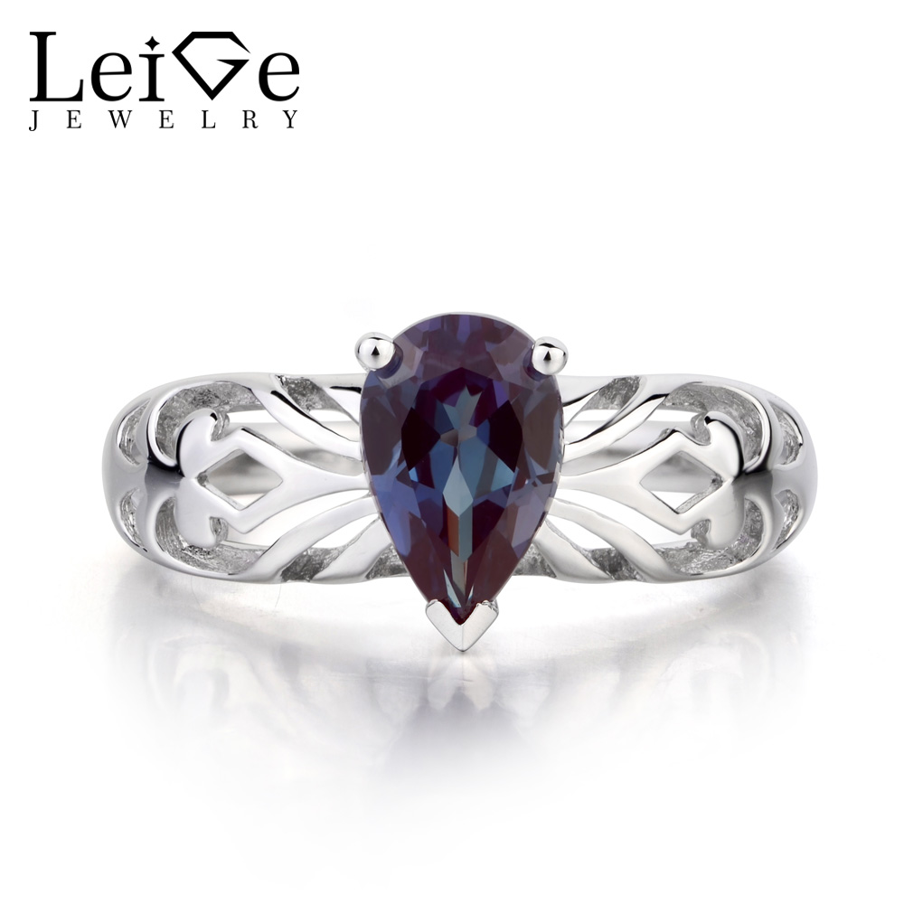 Leige Jewelry Solitaire Ring Lab Alexandrite Ring Pear Cut Wedding Rings 925 Sterling Silver Gemstone June Birthstone for Women leige jewelry pear shaped engagement rings for women lab alexandrite promise ring sterling silver 925 fine jewelry pear gemstone